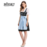 MISSKY Free Shipping 2 Pcs Costumes Womens Beer Maid Wench German Oktoberfest Costume plus size costume Party Female Dress