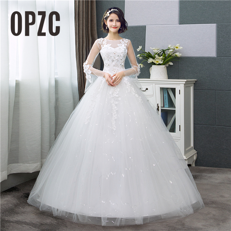 Hot Sale Korean Style Lace Full Flare Sleeve  Ball Gown Cheap Wedding Dress 2018 New Fashion Sweetheart estidos de noivas CC