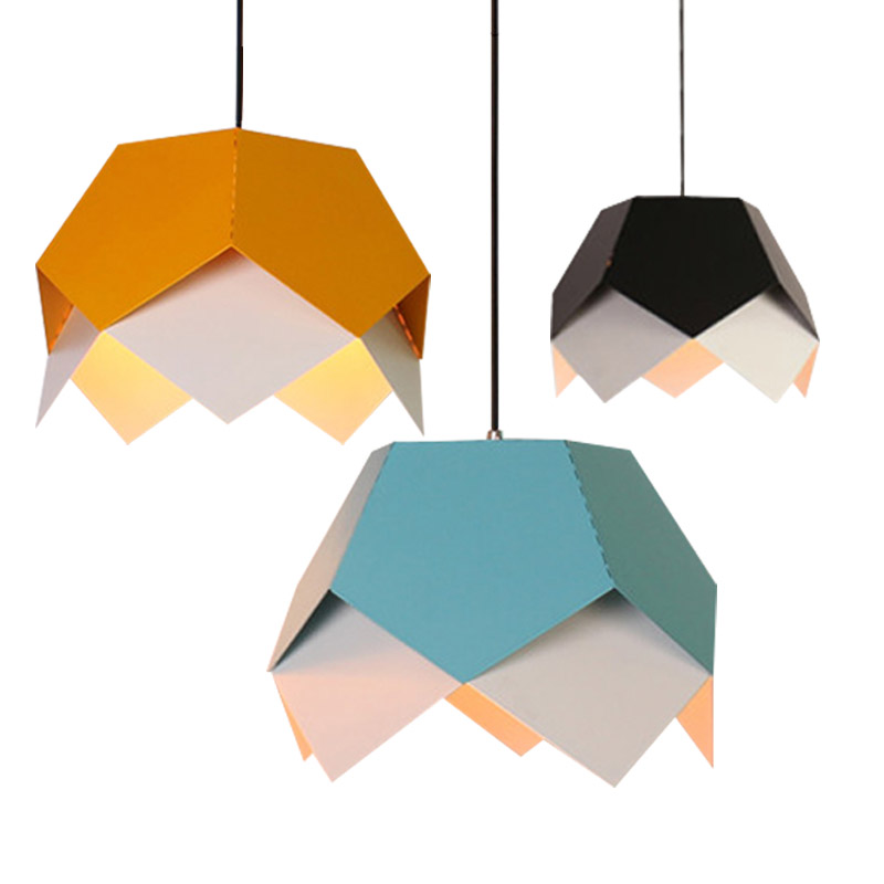 New Nordic Creative Geometric Origami Iron Led E27 Pendant
