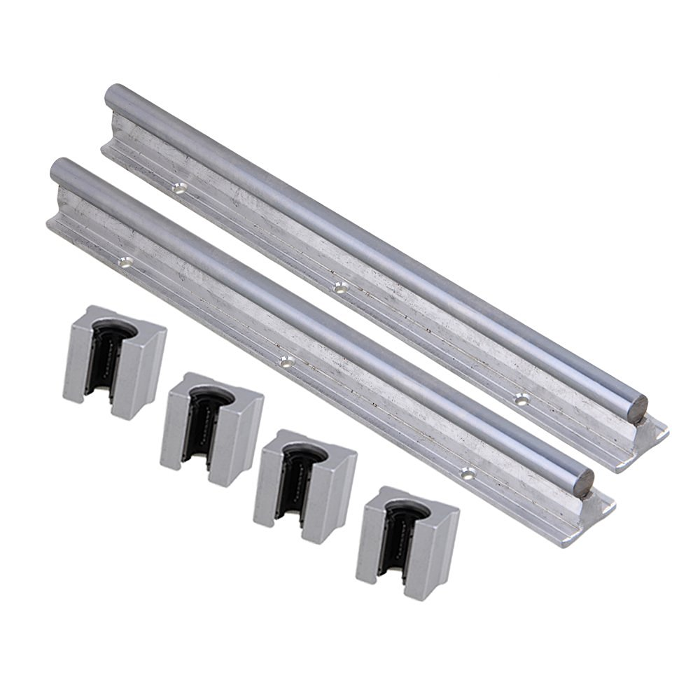 Silver Open Roller Bearing Slide Block & L300mm SBR12 Linear Bearing Rail Guide with 12mm Dia Shaft for CNC Machine Set of 6 silver open roller bearing slide block