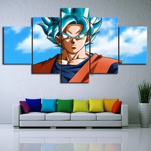 Pintura en lienzo con impresión HD de moda, 5 piezas, supersaiyan Goku, dibujos animados de Anime, dibujos animados, sala de estar, Dragon Ball, superdecoración de pared(China)