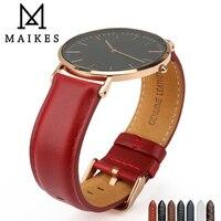 MAIKES модный роскошный красный ремешок для часов из натуральной кожи 14 мм 18 мм 20 мм женский ремешок для часов для Daniel Wellington DW ремешок для часов ...