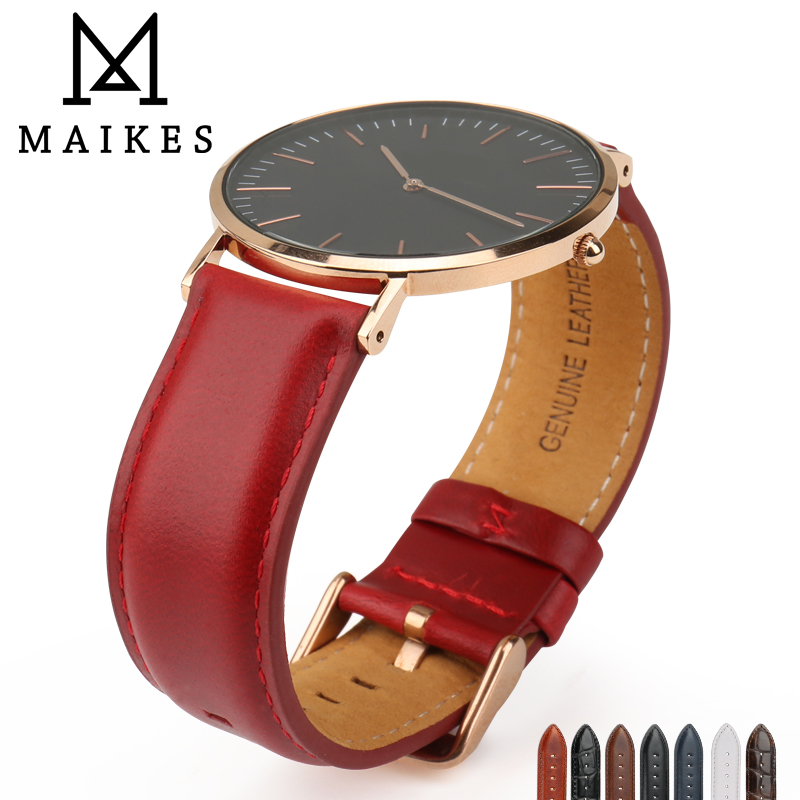 MAIKES Fashion Luxury Red Genuine Leather Watch Strap 14mm 18mm 20mm Women Watch Band For Daniel Wellington DW Watchband Gifts