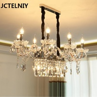 LED european style crystal chandelier creative long restaurant lamp simple modern table bar candle lamps