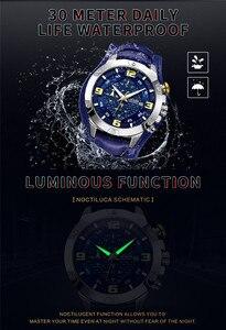 Image 5 - MEGIR ساعة رجالية ماركة فاخرة الذهب كرونوغراف ساعة اليد تاريخ الرياضة العسكرية حلقة من جلد الذكور ساعة Relogio Masculino 2099