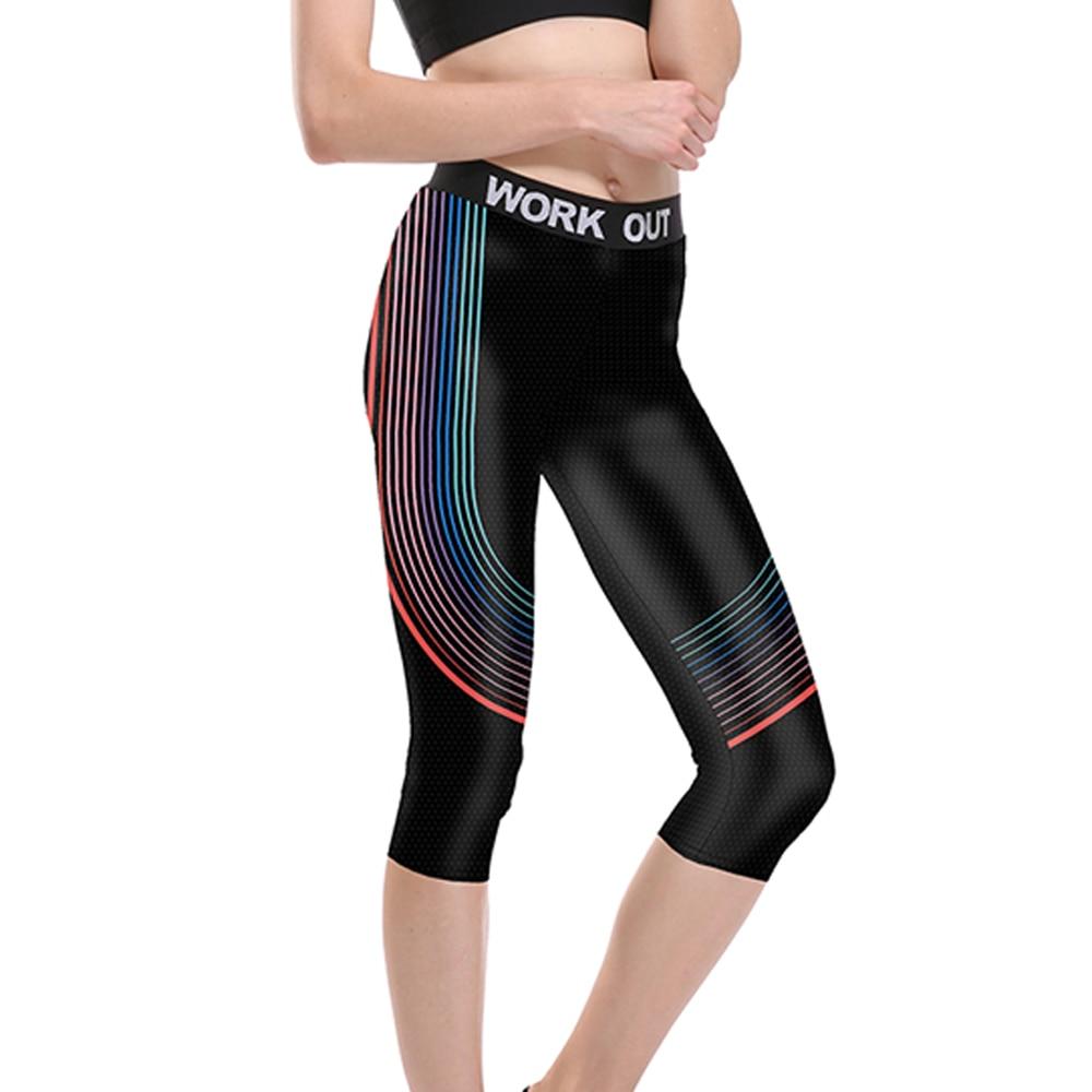 New Arrival Women Yuga Sport Capris White Green Striped Print Elastic Fitness Women Running Jogging Pants Leggings