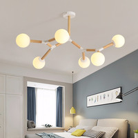 Nordic Magic Bean Modern Chandelier Wood Bedroom Study Lamp Creative Glass Ball Hall Molecular Suspension Home Chandelier No89