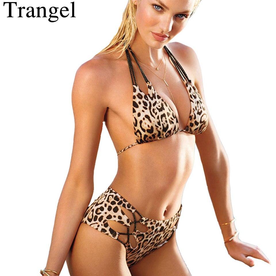 6ff7c73b5b4928 Kopen Goedkoop Trangel sexy bikini vrouwen zwemmen pak gevoerde badmode  Luipaard print bikini set halter top badpak vintage badpak Online