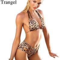 Trangel sexy bikinis women swimming suit padded swimwear Leopard print bikini set halter top swimsuit vintage bathing suit