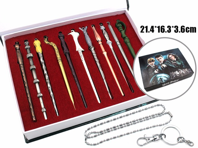 11 pcs/set Movie Harry Potter Cosplay Weapon Metal toy Harry Potter Magical Wand Stick necklace/keychain Gifts Box Packing