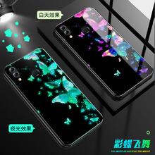 Luminous Glass Case For Xiaomi Mi CC9 CC9E back Cover 9 9se mix 2S redmi note 8 7 K20 pro Phone case Coque