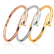 2019 Simple Titanium Steel Stainless Steel Nails Bracelet Silver Gold Bracelets Bangles Punk for Women Men Best Gift Jewelry(China)