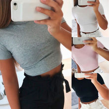 Short Sleeve White T shirts Women Sexy Slim Belly Tops Tee Tops Casual Solid Color Tees Summer