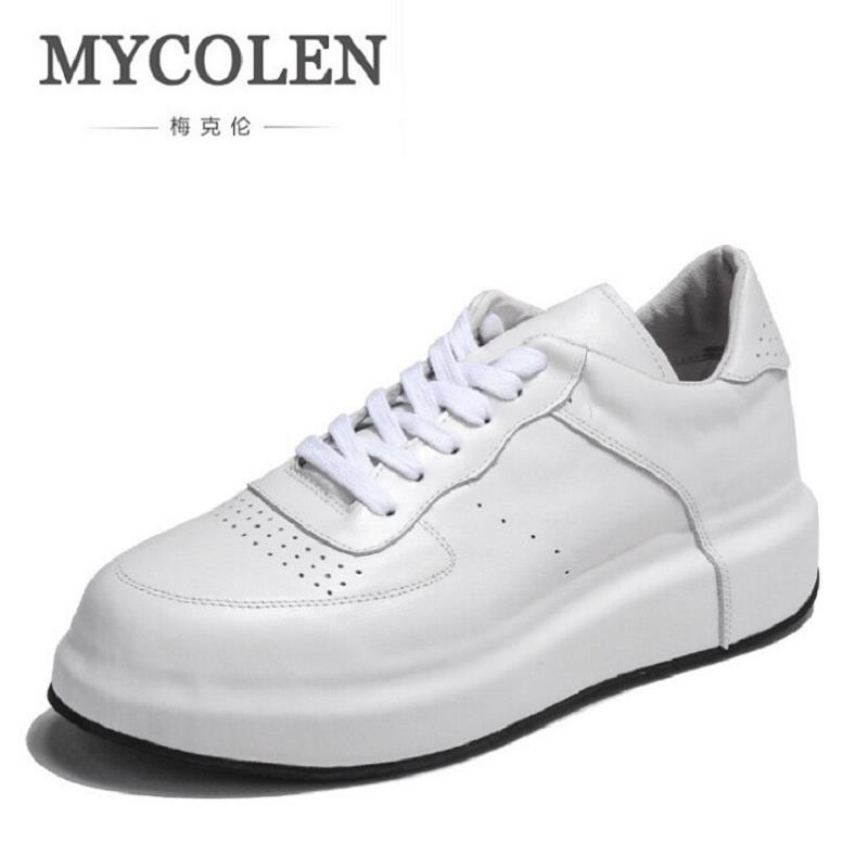 MYCOLEN Winter Leather Men Shoes Top Quality White Mens Shoes Casual Height Increasing Shoes Men Zapatillas Hombre Deportivas casual dancing sneakers hip hop shoes high top casual shoes men patent leather flat shoes zapatillas deportivas hombre 61