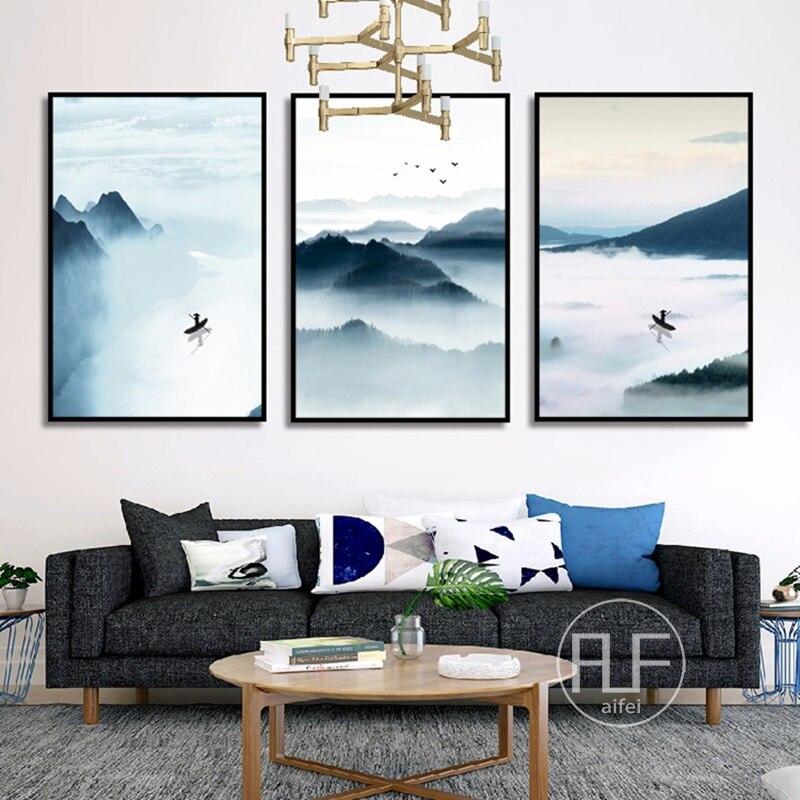Foggy Mountain Lake Pintura do Estilo Chinês Da Arte Da Paisagem Da Lona Poster Parede Pictures Para Sala de estar Moderna Decoração da Casa