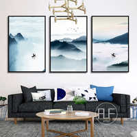 Foggy Mountain Lake Canvas Painting Chinese Style Landscape Art Poster Wall Pictures For Living Room Modern Home Decoration
