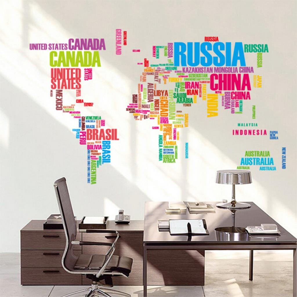 2016 New World Map Letter Quote Removable Decal Art Mural Home Decor Vinyl Wall Stickers
