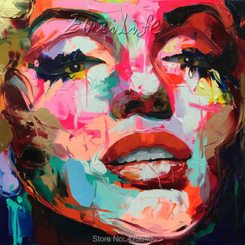 Palette knife painting portrait Palette knife Face Oil painting Impasto figure on canvas Hand painted Francoise Nielly 15-45