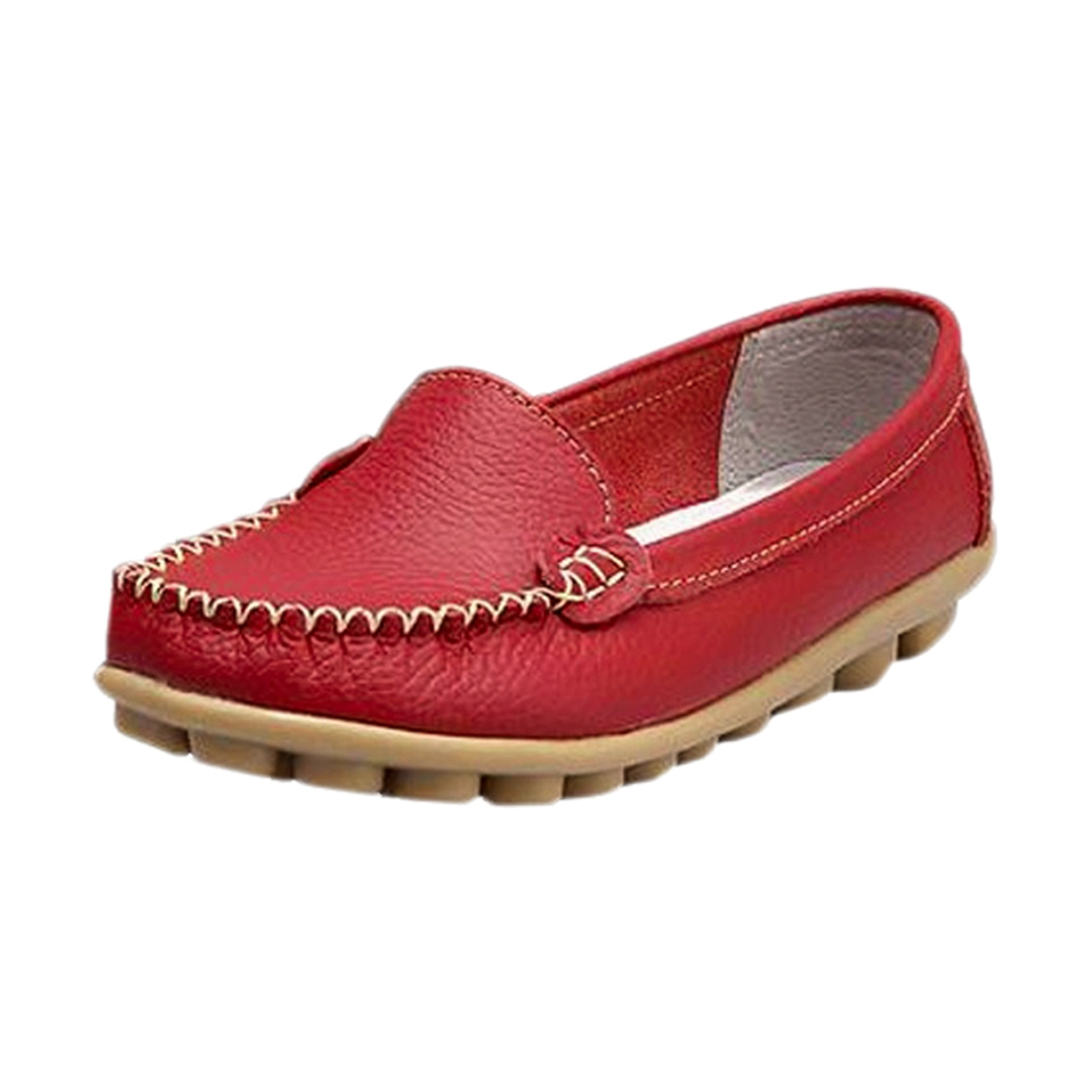 Girl comfortable flat shoes Peas shoes spring new women's breathable leather Casual shoess Red US5 2017 new spring imported leather men s shoes white eather shoes breathable sneaker fashion men casual shoes