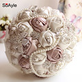 SoAyle Crystal Luxury Bling Wedding Bouquet Sparkle Brooch Bouquet Wedding Accessory Artifical Flowers Pearls Bridal Bouquets