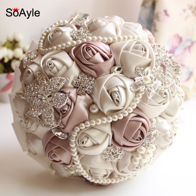 aliexpress com buy soayle crystal luxury bling wedding bouquet