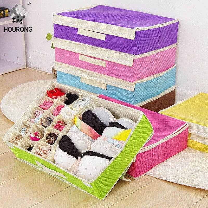 15 Grids Socks Scarf Bra Underwear Organizer Box Divider Drawer Foldable Wardrobe Closet Organizer Home Storage Sorting Box(China)