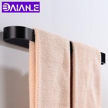 Towel Bar Holder Black Rail Wall Mounted Bathroom Rack Hanging Aluminum Slipper Bath Accessories