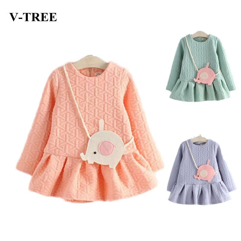 cfdce67af V-TREE spring winter thicken girl dress baby elephant satchel dresses  vestidos de menina long sleeved frill kids dress clothes