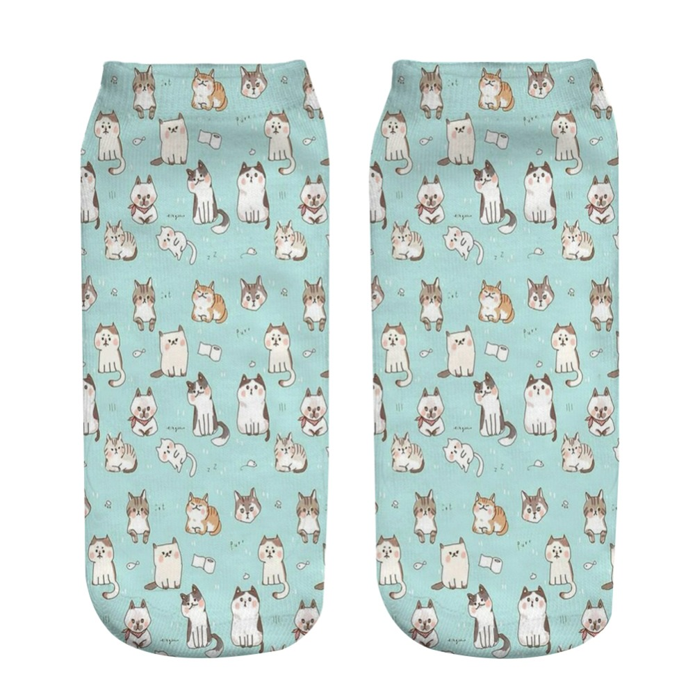 KLV High Quality Unisex Socks Many Cats Printed Socks Women Men Kawaii Ankle Socks Cute Animal Printed Short Socks
