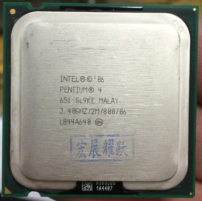 Intel Pentium 4 651 P4 651 3.4 3.4 hz 2 m 800 Dual-Core CPU LGA 775 100% de travail correctement De Bureau Processeur P4 651 processeur