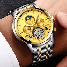 New LIGE Mens Watches Top Luxury Brands Gold Mechanical Watch Mens Sports Waterproof Full Steel Business Watch Relogio Masculino