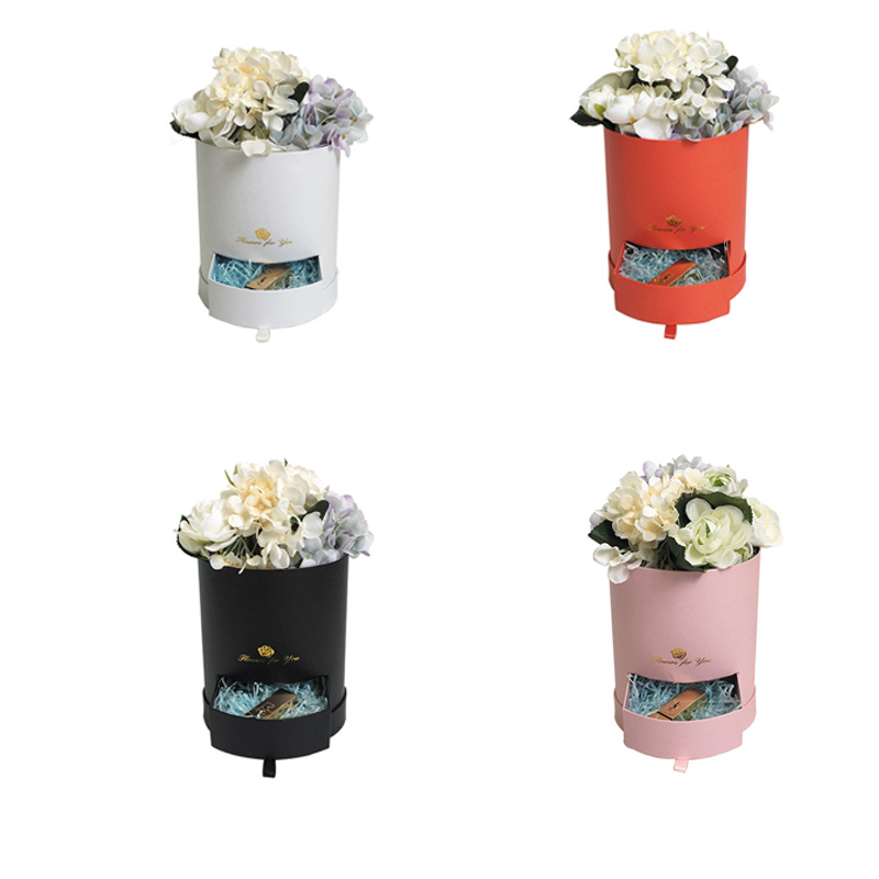 Small Drawer Flower Box Round Hug Bucket Trumpet Gift Box Lid Florist Flower Bouquet Package Valentines Day Gift Packing