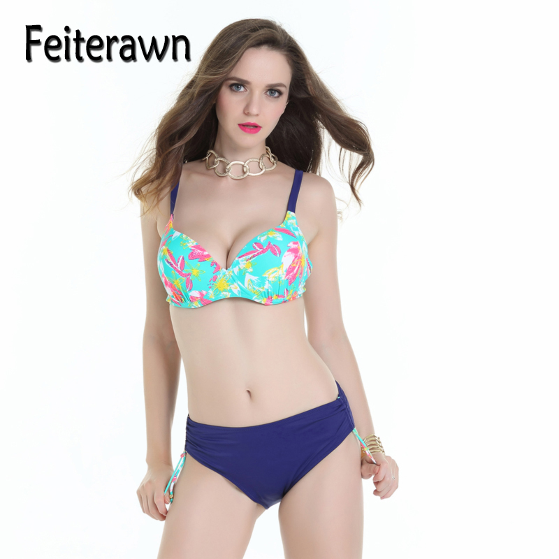 Feiterawn Sexy Bikinis Women Swimsuit Push Up Bikini Set Beach Wear Retro Vintage Print Bathing Suit Plus Size Swimwear JR17017 rosakini sexy bikinis women high waist plus size swimsuit bathing suit swimwear push up bikini set vintage retro beach wear 4xl