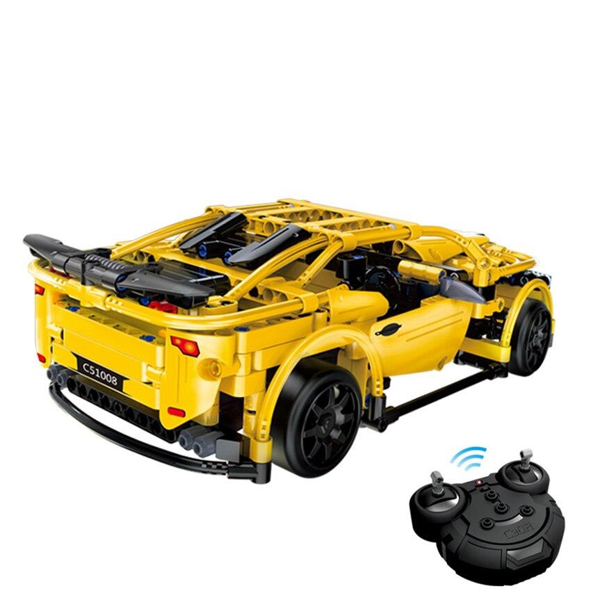 419 unids RC Building Blocks Car amarillo Camar Model Building Kit - Juguetes de construcción - foto 2
