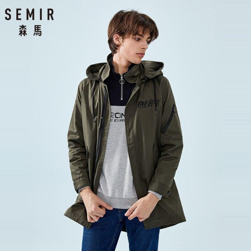 SEMIR Men Long Hooded Jacket For Spring Autumn Pocket Zip Snap Closure Style Men Outdoor Jacket High Quality Jackets Man