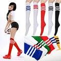 2016 Nueva Moda 1 Par Dos estilo wellies calcetines venta de espesor calcetines largos de las mujeres de botas de invierno las niñas rayas sobre la rodilla calcetines