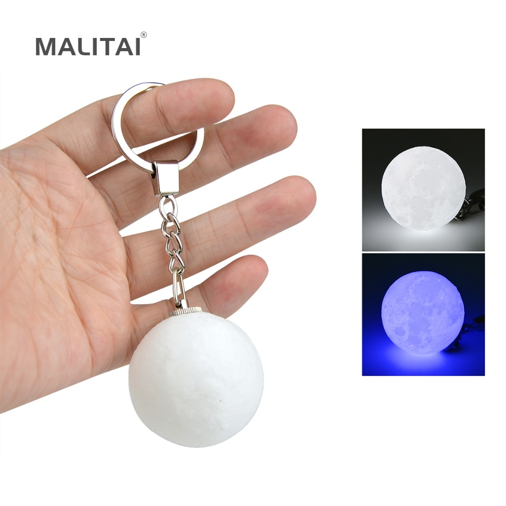 Mini 3D Print Moon lamp Keychain LED Night light Key Holder Chain Bag Decoration Pendant Accessories Creative Baby Kids Gift figure print chain bag