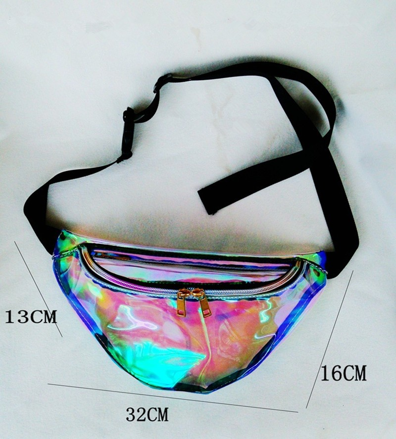 New Arrival Women Crossbody bag Waterproof Chest Bag Cool Transparent Waist Bag Laser Color Fashion HBC89 (10)