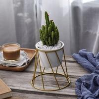 Desktop Geometric Gold Iron Rack Holder With White Ceramic Planter For Succulents Herbs Cactus Plants Pot