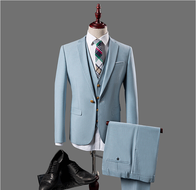 2016 High Quality Blue Mens Suits 3 Pieces Best Men Suits Wedding Groom Tuxedos 100% Real Pictures Jacket+Pants+Vest