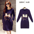 Plus size Women Maternity Funny Owl dresses autumn winter dress for pregnant pregnancy clothes long sleeve wear fancy clothing