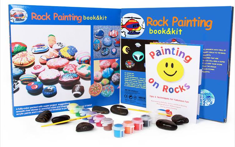 Funny Kids child Brand stone paintings toys with different shape stones and 12 colors Pigment 2 painting brush for drawing toys
