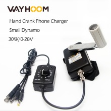 Portable Hand Crank Generator 30W Small Dynamo Outdoor Emergency Phone Charger With 0-28V DC-DC Voltage Converter