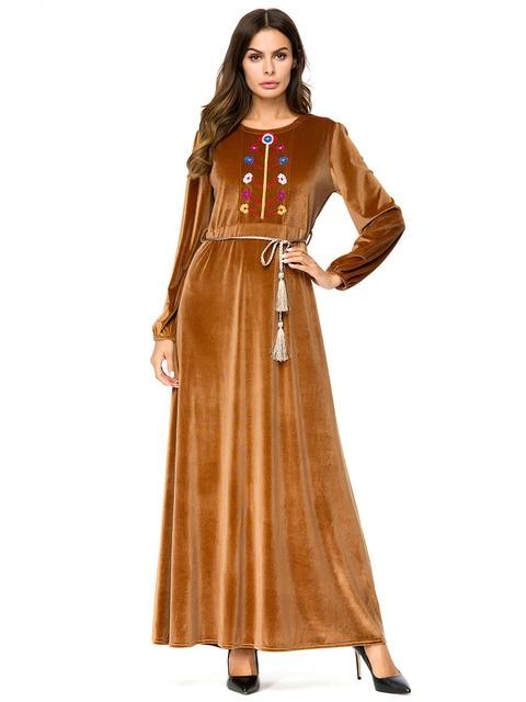Long Dress Muslim Women 2018 Autumn Casual Uae Yellow Velvet Plus