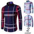 2016 New Arrival Men Plaid Shirt Camisa Masculina Chemise Homme Design Spring Autumn Dress Mens Long Sleeve Shirts
