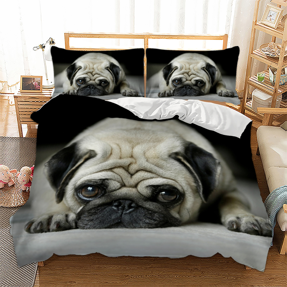 Lovely Animal Pug Dog Cat 3D Printed Bedding Set Double Size Floral Pillowcases Shar Pei Bedroom Home Decor Christmas GiftLovely Animal Pug Dog Cat 3D Printed Bedding Set Double Size Floral Pillowcases Shar Pei Bedroom Home Decor Christmas Gift