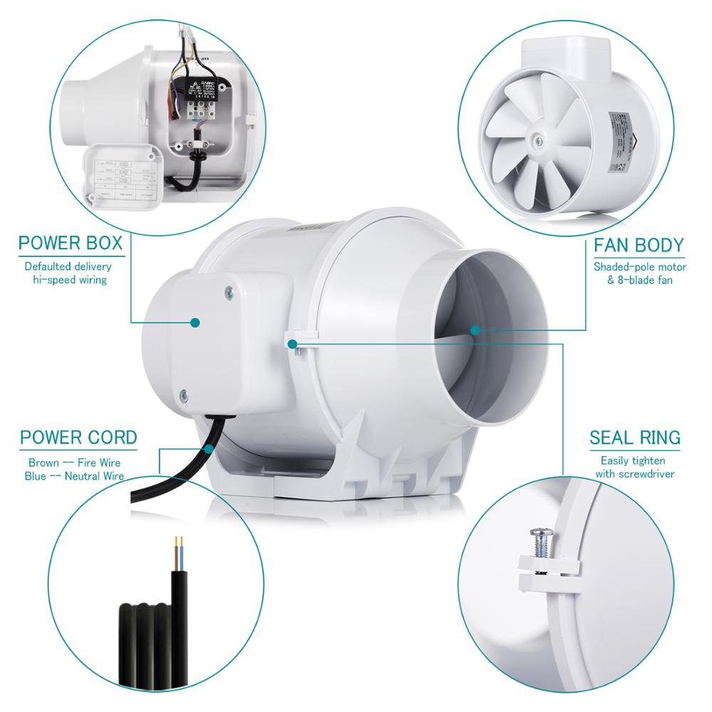 Silent Bathroom Ventilation fan Kitchen Toilet Inline Duct Fan with Strong Ventilation System Booster Air Blower Extractor Fan