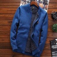 Men thermal sweatercoat plus velvet thick 2019 new winter male stand collar cardigan zipper sweater teenage boy Korean style