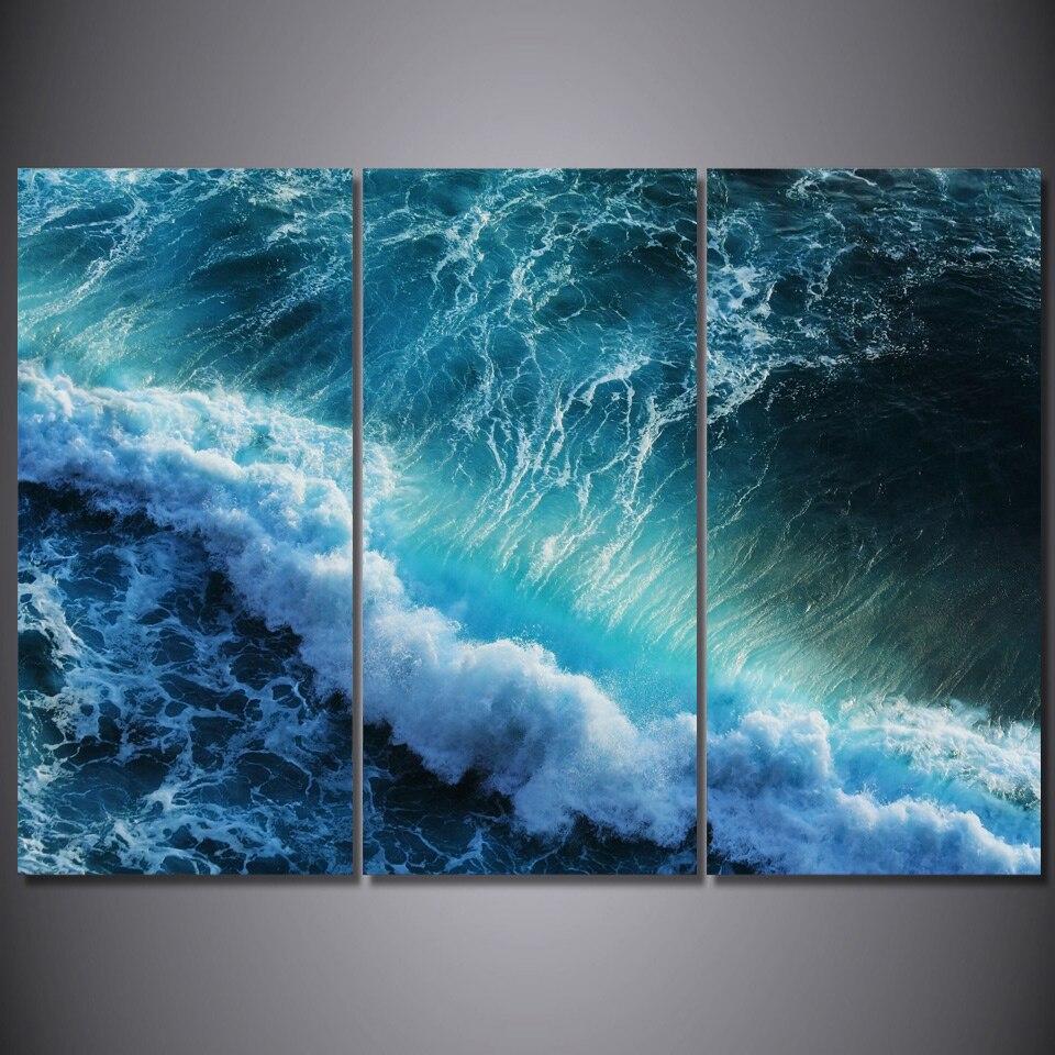 Gambar Dinding Untuk Ruang Tamu Biru Gelombang Laut