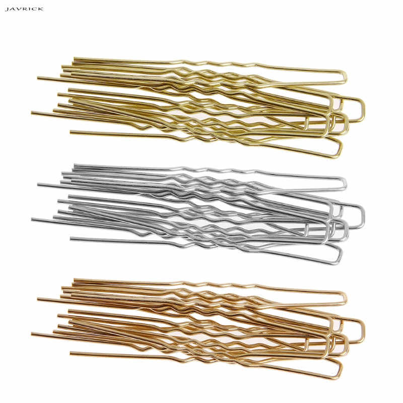 JAVRICK New Real Black/golden U Shaped Hairpin Hair Clips Bobby Pins Metal Barrette Women Dish Tools Accessories 10pcs/lot